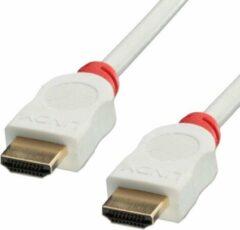 LINDY HDMI Aansluitkabel 0.50 m 41410 High Speed HDMI, Rond, UL gecertificeerd, Ultra HD-HDMI, Afgeschermd (dubbel), Stugge binnenader Wit [1x HDMI-stekker