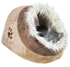 Trixie Relax Iglo Minou Kattenmand - Pluche - Beige/Bruin 35 x 26 x 41 cm