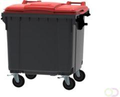 Ese Afvalcontainer 1100 liter grijs/rood 4 wielen