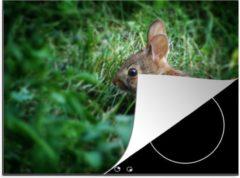 KitchenYeah Luxe inductie beschermer Baby konijn - 70x52 cm - Een nieuwsgierig baby konijn in het gras - afdekplaat voor kookplaat - 3mm dik inductie bescherming - inductiebeschermer