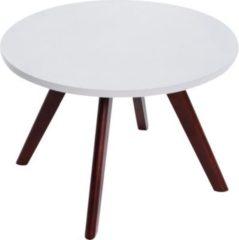 CLP Design-Beistelltisch EIRIK aus Holz I Runder Teetisch mit matt weißer Tischplatte I Kompakter Couchtisch mit Holzbeinen