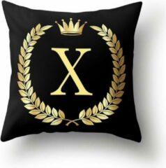 Gouden MFFL Zwarte 'koninklijke' Kussenhoes met Letter X (500108)