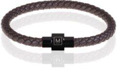Memphis armband leer met edelstaal Donkerbruin Zwart-22cm