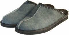 Donkerblauwe Van Buren Bolsward BV Schapenvacht pantoffels - Lamsvacht heren slippers - Grijs - Maat 43