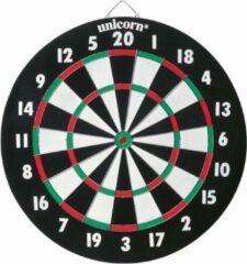 Unicorn dartbord dubbelzijdig met 6 steeltip dartpijlen