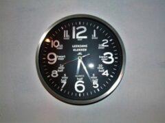 Zilveren Leerzameklokken.nl Leer klokkijken-leerzame klok- wandklok 30 cm zwart