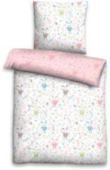 Rosa Kinderbettwäsche, Biberna, »Leon«, mit Hasen