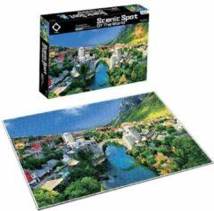 FDBW Puzzel Kunstwerken - Bergdorpje | Puzzel - 1000 stukjes – Bergdorp | Kunst puzzel voor volwassene | Puzzel 1000 | Kunst Puzzel Collectie – Bergvallei