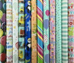 Enper Assortiment cadeaupapier inpakpapier voor kinderen - 200 x 70 cm - 5 rollen