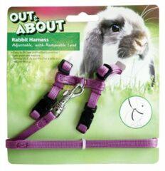 Happy pet konijnen harnas en looplijn paars 20-30 CM 25-40 CM