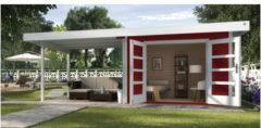 Weka tuinhuis met overkapping 126 Type B GR2 rood 300x645cm