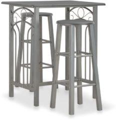 Grijze VidaXL 3-delige Barset hout en staal antraciet
