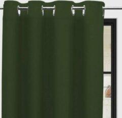 SOLEIL d'OCRE Panama gordijn met gaatjes - Zuiver katoen - 135 x 250 cm - Groen
