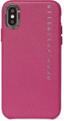 Fuchsia DECODED POP Back Cover iPhone Xs / X, Hoogwaardig Full-Grain Leer, Metalen knoppen + Minimaal Design, Schokbestendig, Hoes voor iPhone Xs / X - [ Roze ]
