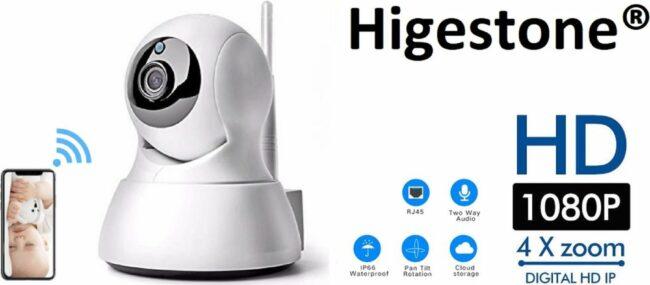 Afbeelding van Witte Slimme HD Wifi Babyfoon   Met App   Luisteren en Terugpraten   Bewakingscamera   Babyfoon Met Camera   Babyphone WiFi   Higestone