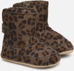 Groene Shoesme BS9A002-E suède babylaarzen panterprint