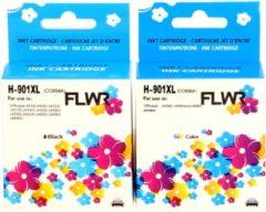 Pixeljet FLWR - Inktcartridge / 901XL / 2-pack Zwart & Kleur - Geschikt voor HP