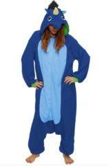 KIMU Onesies KIMU Onesie eenhoorn pak donkerblauw unicorn kostuum - maat L-XL - eenhoornpak jumpsuit huispak festival