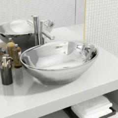 VidaXL Wastafel 40x33x13,5 cm keramiek zilverkleurig