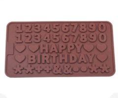 Bruine Leukste Winkeltje Chocoladevorm mal Happy Birthday verjaardag siliconen vorm voor ijsblokjes chocolade fondant - LeuksteWinkeltje