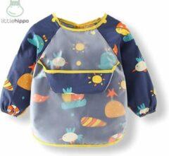 Kinderschort 'Sea' lange mouwen - Slab met mouwen - Slabbetje Little hippo - Waterproof - Knutselen - Kliederschort - 12 tot 36 mnd