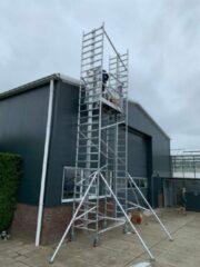 Grijze Lockhard Rolsteiger Hoogwerker de Alulift werkhoogte 500 cm.- De Solarlift bij uitstek! 250 kg belastbaar.