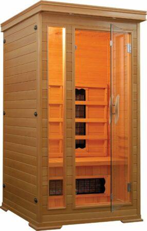 Afbeelding van Rode Badstuber Basdstuber Punto infrarood sauna 90x90cm 1 persoons