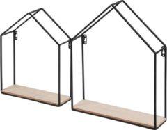 Duraline Opberg Huisjes Staal Zwart 40x30x8cm - Set van 2