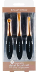 Bronze Universeeel Brush Works HD Ovalen Penselen / MAke-up kwast Complete Detail - 3 stuks