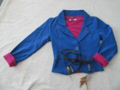 Rumbl , meisje, gilet , blauw afgewerkt met fuchia, 116 /122 - 6 / 7 jaar