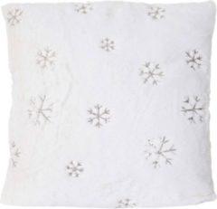 Heute-wohnen Deko-Kissen Schnee, Sofakissen Zierkissen mit Füllung, flauschig weiß Pailletten 45x45cm
