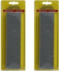 Ben Tools Set van 2x dubbelzijdige wetsteen / slijpsteen fijne en grove korrel - 20 x 5 x 2.5 cm - Messenslijper