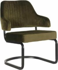 Donkergroene Budget Design Store LABEL51 - Fauteuil Otta - Fluweel - Army