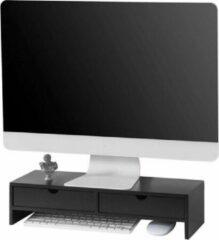Simpletrade Monitor standaard - Monitor verhoger - Ergonomisch - 2 lades - Zwart - 47x11x18 cm