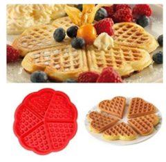 Sweet Choice Siliconen Wafelvorm / Wafelijzer – Hartvorm - 5 Wafels - Rood - Wafelmaker
