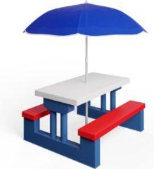 Rode Merkloos / Sans marque Deuba - Kinder Picknicktafel met parasol - Blauw