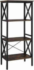 Maison Woonstore Maison's Boekenrek – Vakkenkast – Opbergkast – 4 planken – Industrieel – Bruin – Zwart – 56x34x131