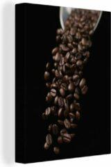 OneMillionCanvasses Canvas Schilderij Espresso - Koffiebonen voor een espresso canvas - 60x80 cm - Foto print op Canvas schilderij (wanddecoratie woonkamer / slaapkamer)