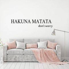 Merkloos / Sans marque Hakuna Matata - Donkergrijs - 80 x 16 cm - woonkamer slaapkamer engelse teksten - Muursticker4Sale