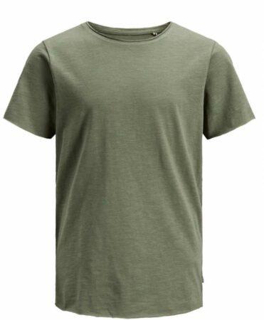 Afbeelding van Donkergroene Jack & Jones! Jongens Shirt Korte Mouw - Maat 152 - Legergroen - Katoen