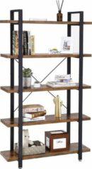 Zwarte Vasagle Nancy's Boekenkast - Vintage Kast - Woonkamer - Boekenkasten
