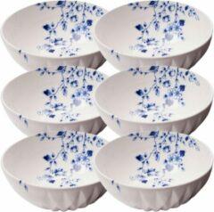 Heinen Delfts Blauw Soepkommen set 6 - soepkom - ø 16 cm - soepkom wit - schaaltjes voor snacks - chipsschaal - schaaltjes - kommetjes aardewerk - soepborden - soepkom set - Delfts blauw servies
