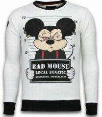 Local Fanatic Bad Mouse - Rhinestone Sweater - Wit Sweaters / Crewnecks Heren Sweater Maat XL