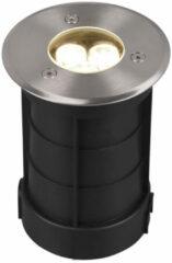 BES LED Led Grondspot - Trion Baliyi - Inbouw Rond - 3w - Waterdicht Ip65 - Warm Wit 3000k - Mat Nikkel - Rvs
