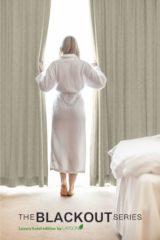 Larson - Luxe hotel serie - blackout gordijn met visgraat motief – incl. Ringen – beige – 3.0x2.5m – Verduisterend & kant en klaar – per stuk