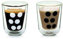 Witte Zak designs Zak!Designs Dotdot Espressobeker - Dubbelwandig - Met Lepel - 7,5 cl - Set van 2 stuks - Zwart/Wit