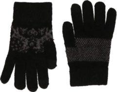 Witte Merkloos / Sans marque Gebreide winter handschoenen Nordic/zwart voor dames met teddy voering