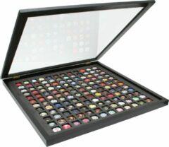 Deknudt Frames Verzamelkader voor 63 champagne capsules, zwart met openklapsysteem