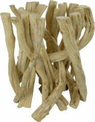 Naturelkleurige Fine Asianliving Houten Salontafel Solide Lianen Takken met Glasplaat L35xH45cm Chinese Meubels Oosterse Kast