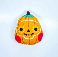 Decolenti Spooky Pumpkin   Halloween Kussen   Pompoen   Vorm Kussen   Oranje   Groen   Rood   Geel   SierKussen   Super Zacht   Wasbaar   Decoratie